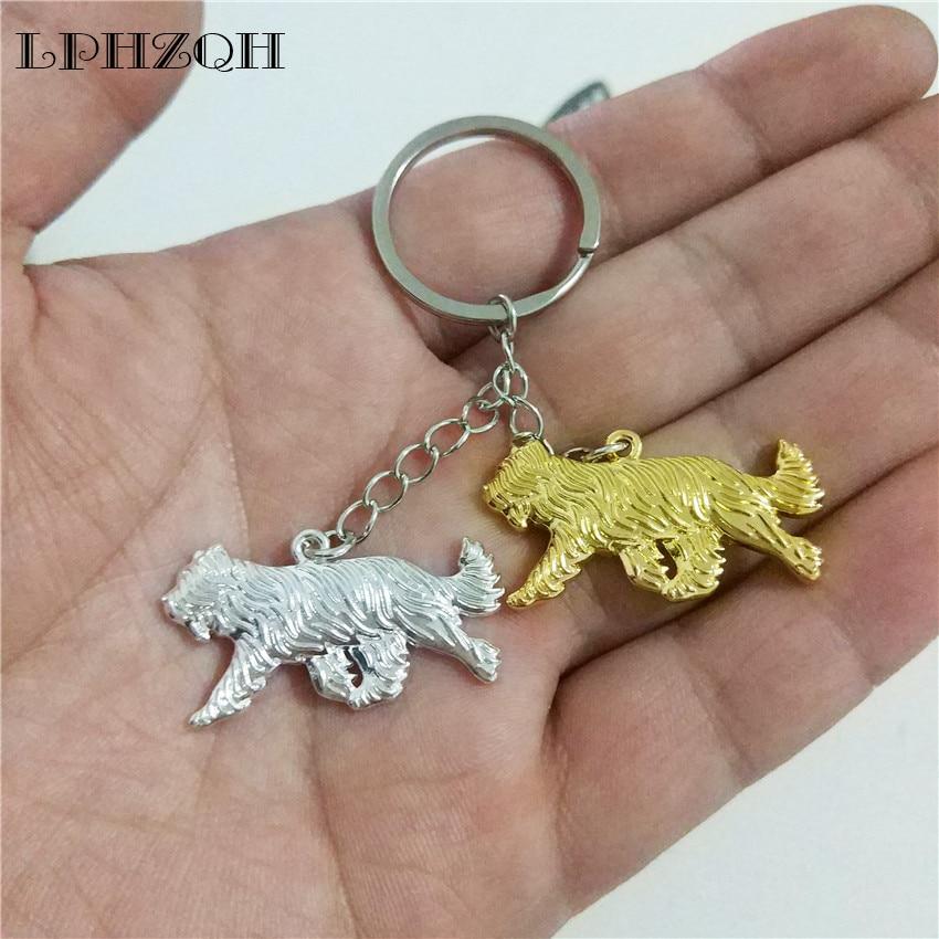 LPHZQH fashion Boho Chic dog Briard trendy car key chain women handbag pendant charm acc ...