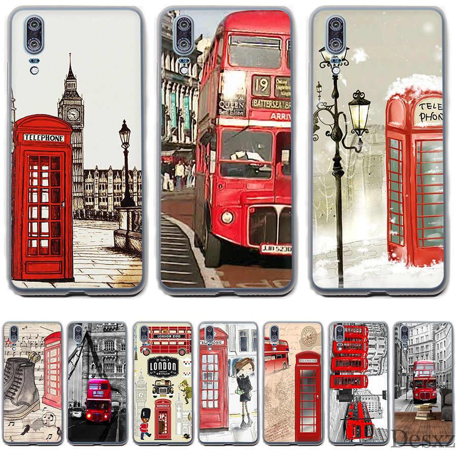 Housse de téléphone Style londres Bus angleterre téléphone Vintage mignon pour Huawei P Smart P8 P9 P10 P20 Lite Pro P20pro 2015 2016 2017