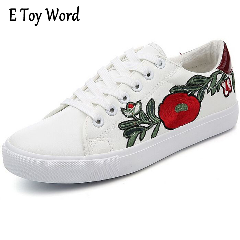 E TOY WORD Spring New Women Small White Shoes Flats Lace-Up Casual Shoes Women Breathable Embroidered Shoes Zapatillas Mujer e toy word canvas shoes women han edition 2017 spring cowboy increased thick soles casual shoes female side zip jeans blue 35 40