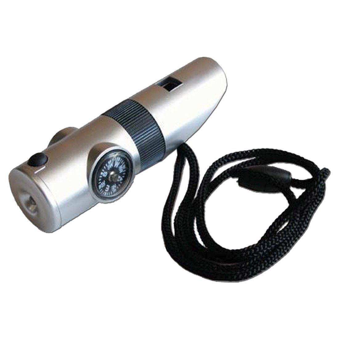 7 in 1 Silver Emergency Whistle Survival Kit - Compass LED Light & More!