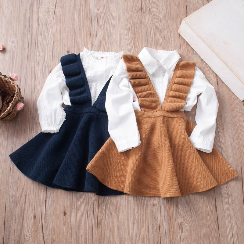 Girls Knitted Dresses European American Style Flare Sleeve Strap Dress Kids Clothes 2-7Y E011(China)