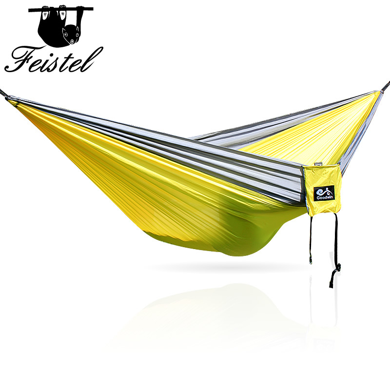 For Two Person Portable Outdoor Hammocks Nylon Strong Leisure Parachute Hammock Popular Travel Camping Hammock  2 People