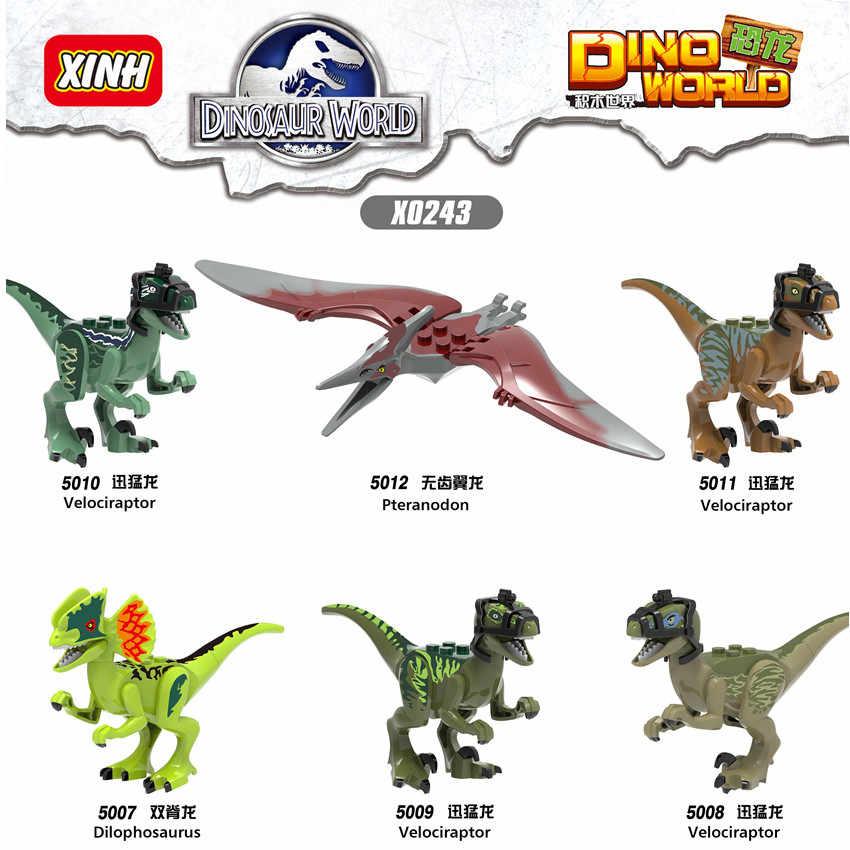 واحد الديناصورات الجوراسي فيلم فيلوسيرابتور Pteranodon ديلوفوسورس الشكل بنة مجموعات لعب للأطفال