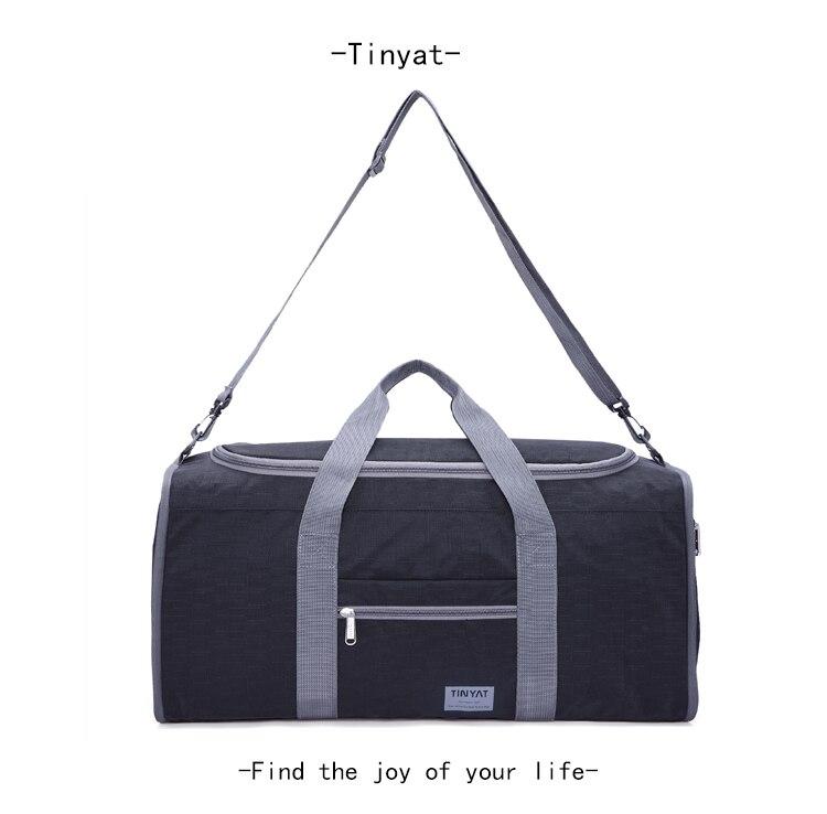 TINYAT мужской Для мужчин Дорожная сумка складной мешок Переносной Молл Для женщин Tote Водонепроницаемый нейлон Повседневное путешествия вещевой мешок черный дорожная сумка сумка дорожная большая