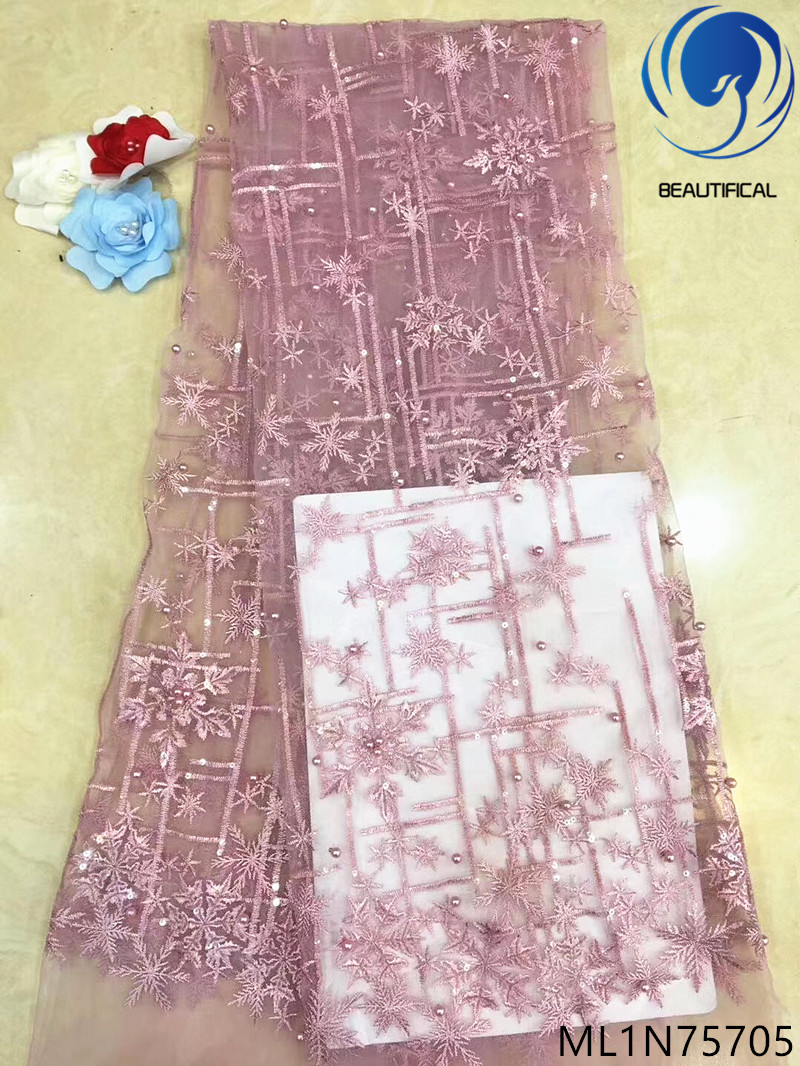 BEAUTIFICAL french lace fabrics 2019 lace beaded fabric african tulle lace fabric 5 yards/lot nigerian sequins fabric ML1N757