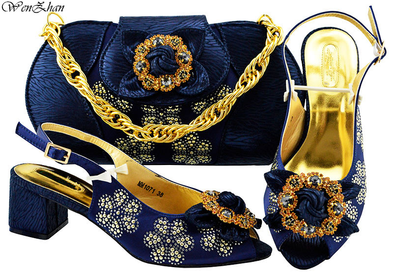 Beautiful Deep blue African Women Matching Italian Design Shoes and Bag Set for Wedding Italian Shoes with Matching Bag! B88-18 hot artist shoes and bag set african sets italian shoes with matching bags high quality women shoes and bag to match set mm1055