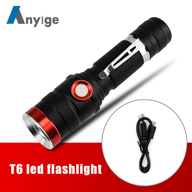 2000LM XML T6 led flashlight 3 Modes USB Rechargeable Outdoor Torch Camping light bike lamp lighting lantern Use 18650 Battery