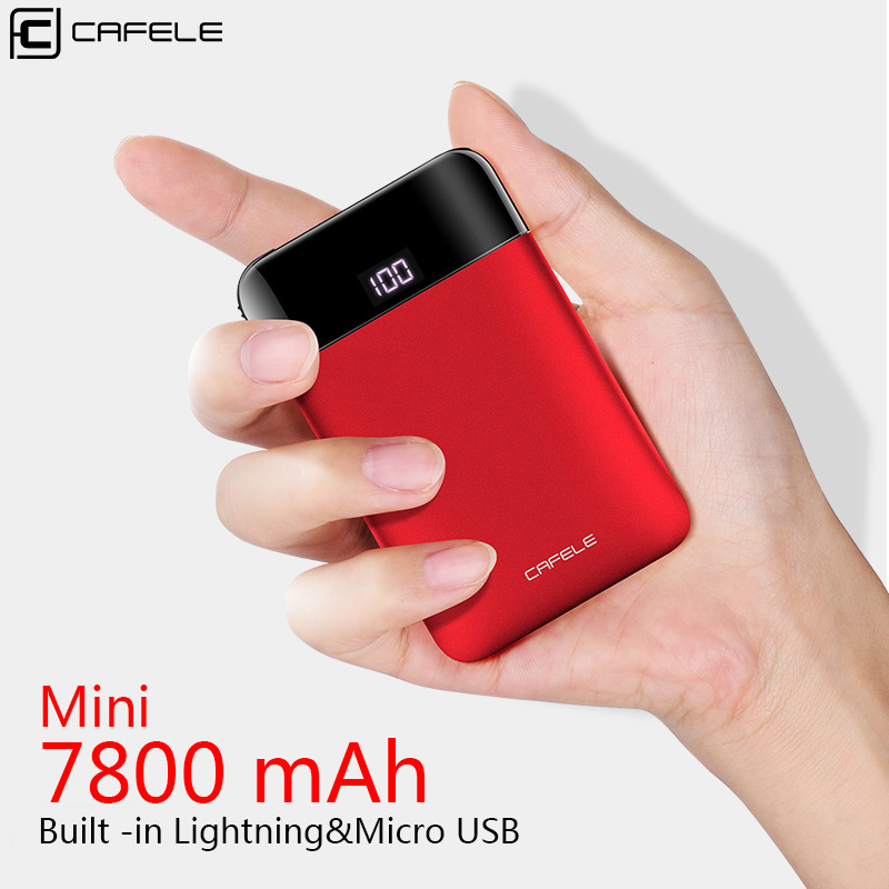 Cafele 7800mAh Multifunctional Power Bank Mini Portable External Battery Built-in 3 Connectors for iPhone USB 2.0 Micro USB