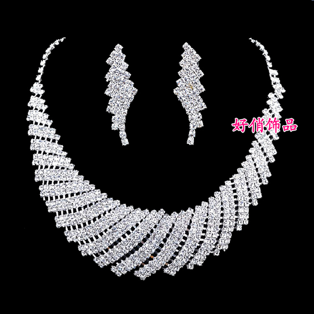 Irregular luxury bridal necklaces bridal accessories wedding wedding dress with rhinestone necklace sets jewelry