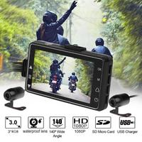 3 Inch Motorcycle Dash Cam Dual Lens Driving Recorder Front+Rear View HD Video Recorder Motorcycle DVR Camera G sensor