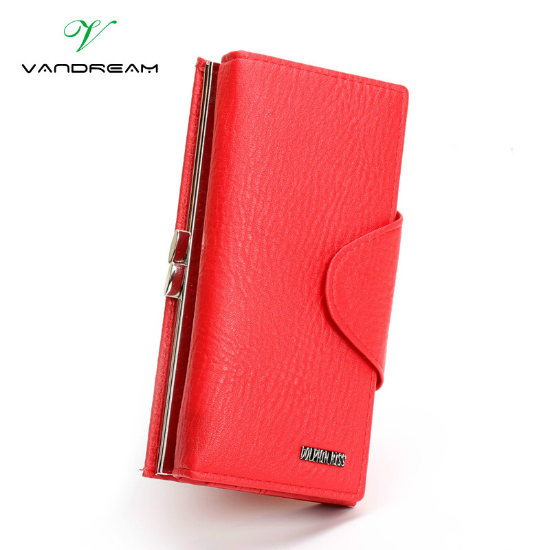 Luxury Famous Brand Hasp Clutch Wallet Black Red PU Leather Female Money Long Women Purse Evening
