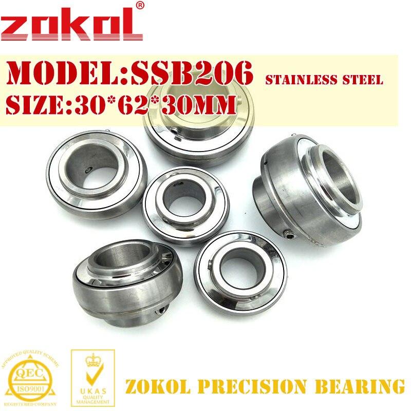 ZOKOL bearing  SSB206 Stainless steel Pillow Block Ball Bearing 30*62*30mm zokol bearing 51312 thrust ball bearing 8312 160 200 31mm