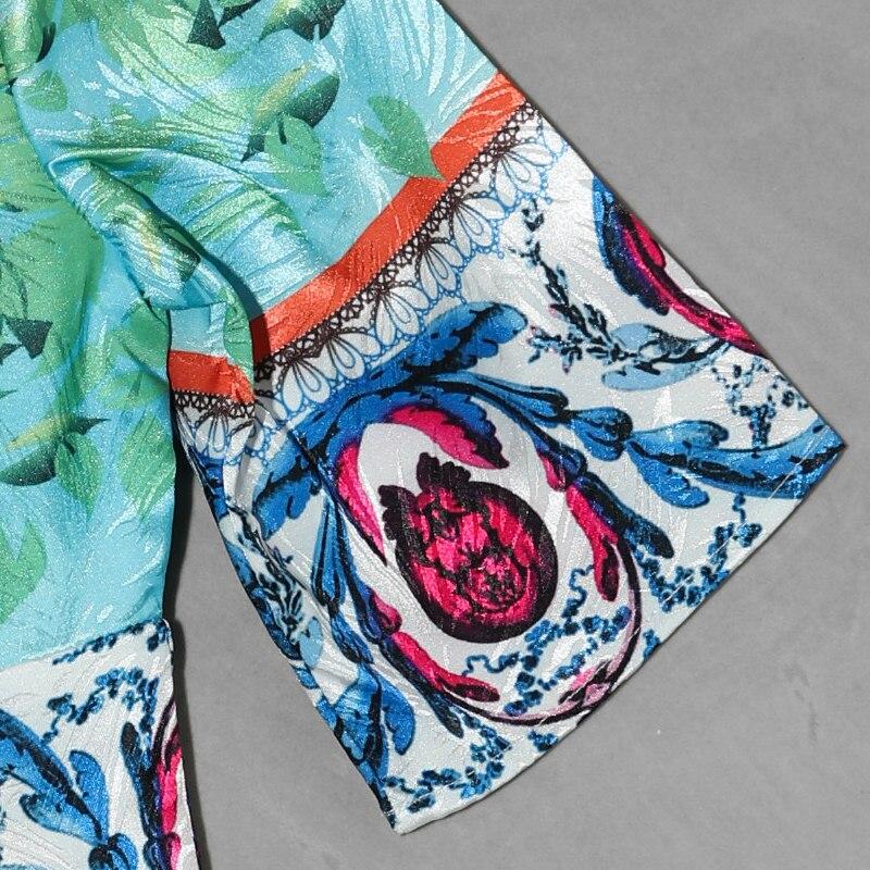 Haute Une Mince Bleu 2018 Imprimé Maxi Conception Floral Coloré Courtes À Piste Qualité Summer Long Ligne Robe Empire Manches Femmes wxOYqIROa