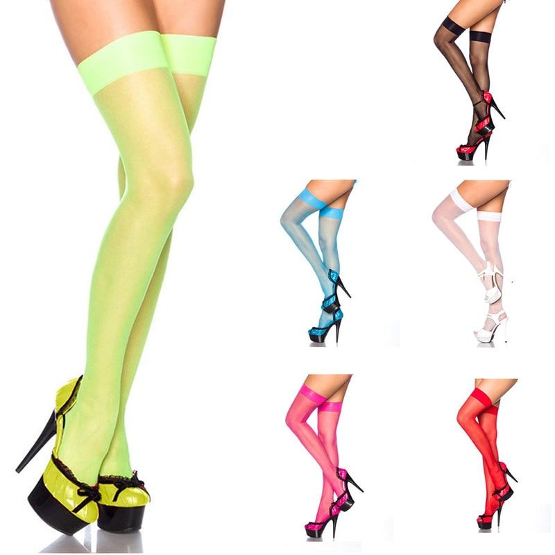 Новинка, женские модные летние прозрачные неоново-зеленые сетчатые чулки выше колена, эластичные пикантные прозрачные колготки карамельны...