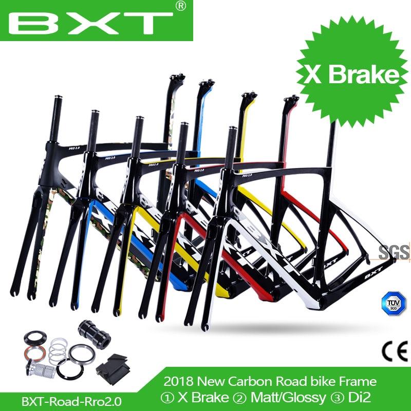 BXT 2018 T800 X brake carbon frame 49 52 54 56 carbon road frame carbon bicycle frame with fork hidden brake road carbon frame