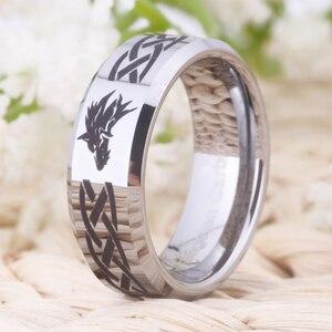 Image 2 - Ring Wemen männer Klassische Jäten Ring Für Männer 8MM Legende von Zelda & Wolf Silber Bevel Mode Wolfram engagement Silber Ring