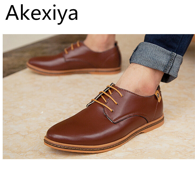Avocado Store Akexiya New 2017 Men Shoes Leather Casual Lace Up Brown Black Cheap Men Dress Shoes Oxford Men Leather Shoes Plus Size 45,46,47