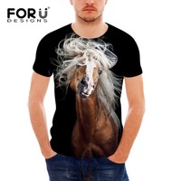 FORUDESIGNS Wholesale Horse Hair Print T Shirt For Men Comfort Boys Bodybuilding Designer Animal T Shirts