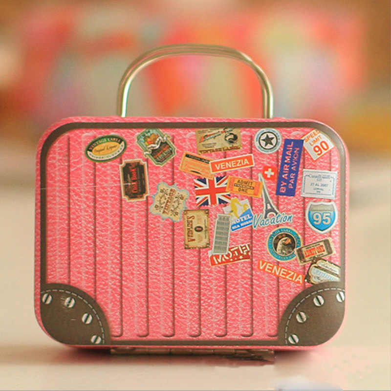 Europe Style Vintage Suitcase Shape Candy Storage Box Wedding Favor Tin Box Sundries Organizer Container Small Decoration