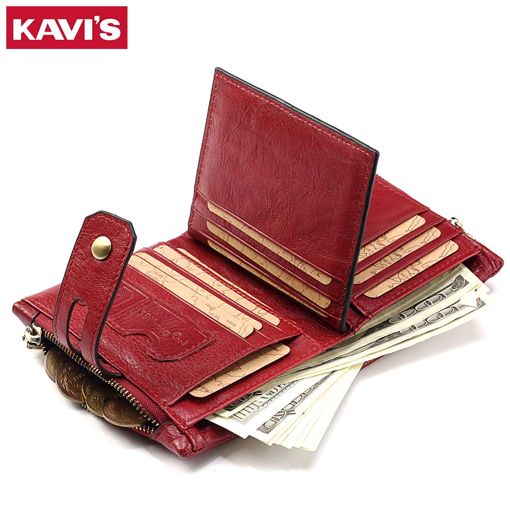 KAVIS Genuine Leather Women Purse Wallet Female Small Walet Portomonee Lady Money Bag Coin Pocket Card Holder Perse PORTFOLIO