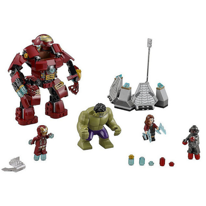 7110 Compatible 76031 Marvel Super Heroes Avengers Building Blocks Ultron Figures Iron Man Hulk Buster Bricks Toys For Children marvel avengers super heroes figures batman iron man black widow hulk joker lepin building blocks model sets toys for children