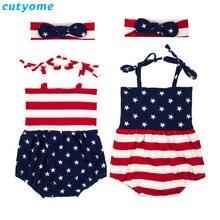 Cutyome Baby-Spielanzug-Viertel von Juli-Kleidungs-Ausstattungs-Infantil Sleeveless hübsche Overalls für Juli 4. Mädchen-Stern-Overalls