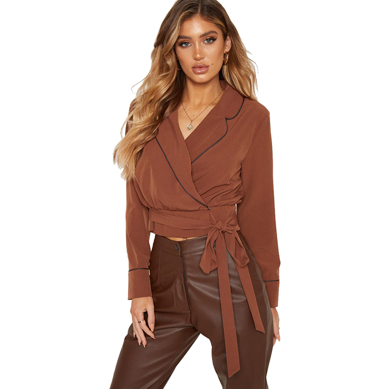 JYSS brown women tops and shirts v-neck collar long sleeve shirts sashes fashionable lady clothes female tops and blouses 81820