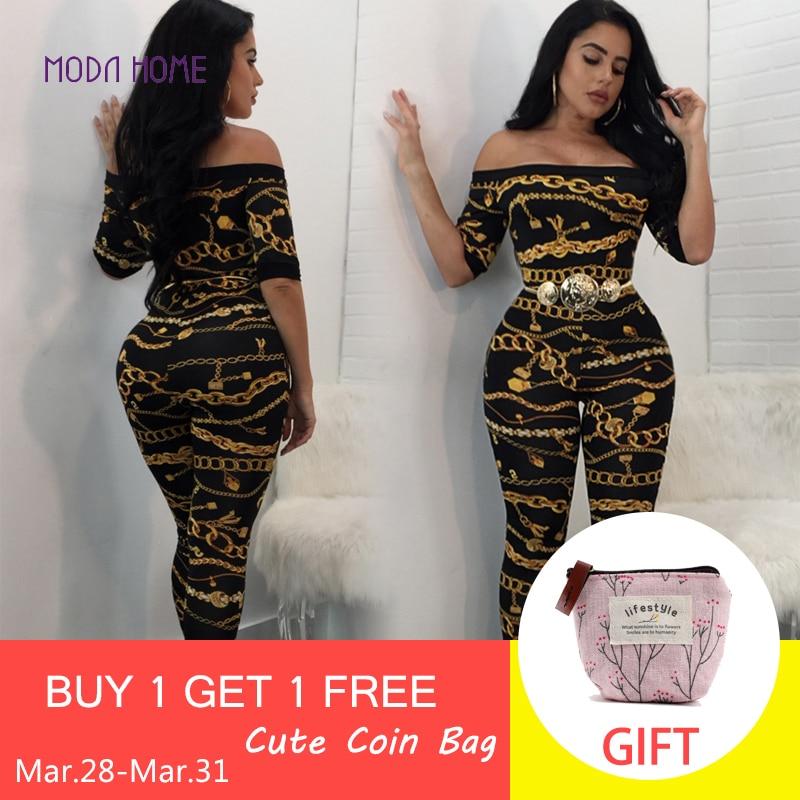 Sexy Women Off Shoulder   Jumpsuits   Chain Print Short Sleeve Slim Bodycon Rompers Long Pants 2019 Female Slash Neck Overalls Black
