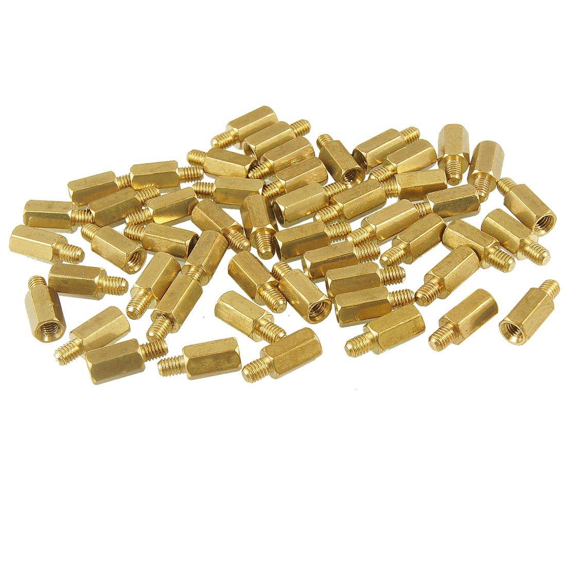 MOCC M3 Male x M3 Female 8mm Long Hexagonal Brass PCB Standoffs Spacers 50 Pcs thgs 50 pcs brass screw hexagonal stand off spacer m3 male x m3 female 12mm body length