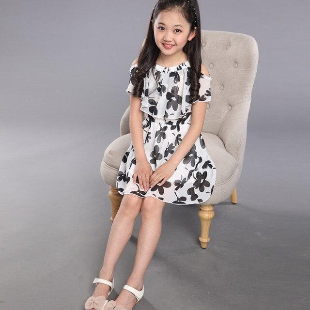 9d15d5a0d Summer 2018 Baby Girls Floral Dresses Teens Kids Chiffon Princess ...