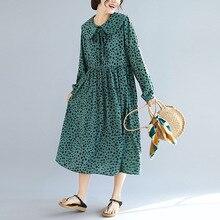 Erregina Beach Dress Women Plus Size Cotton Dresses Casual Loose Vintage Leaf Printing Linen Big M L XL 2XL