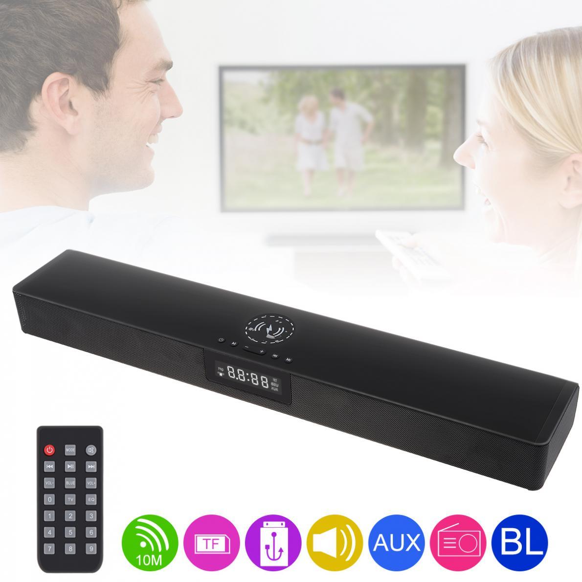 Réunion Home cinéma Sensurround multi-fonction Bluetooth barre de son haut-parleur avec charge sans fil et réveil pour PC TV