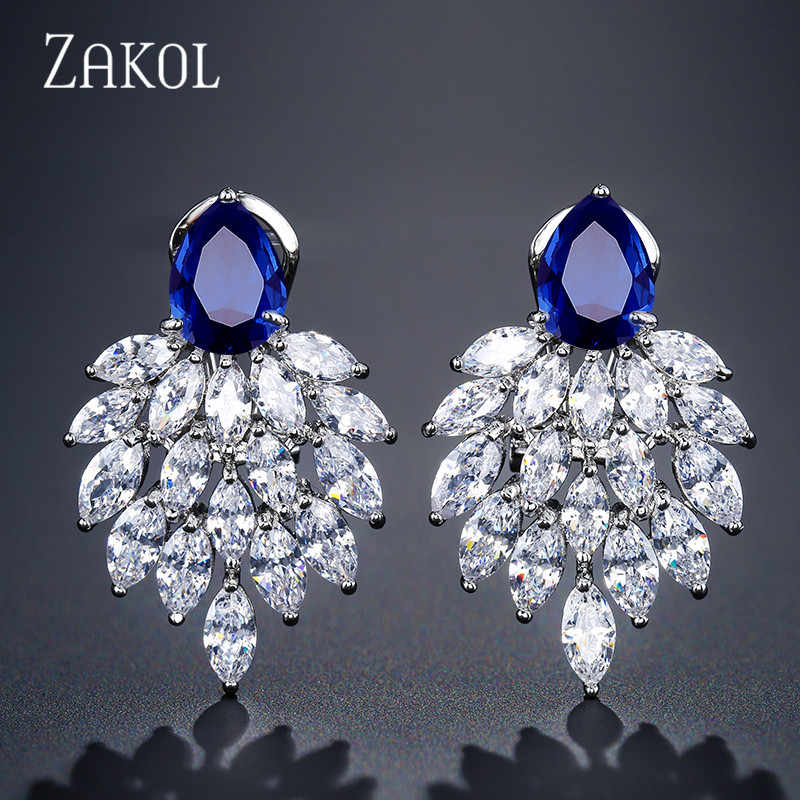 ZAKOL Fashion Leaf Brand Bridal Jewelry White Cubic Zirconia Big Green CZ Stud Earrings For Women Wedding FSEP4084