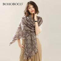 Scarfs for Ladies Women Winter Warm Snake Printed Long Thin Mercerized Wool Shawl Soft Long Neck Scarf luxury brand hijab scarf