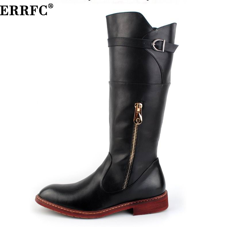 ERRFC British Trend Red Knee High Boots Men Round Toe Cowboy PU Leather Long Boots Man