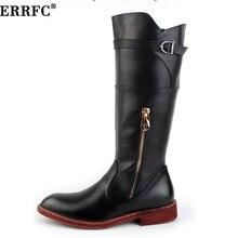 Botas altas de rodilla roja de tendencia británica de ERRFC para hombre  Botas largas de cuero de vaquero de punta redonda Martin. 08bdf6266e6b7