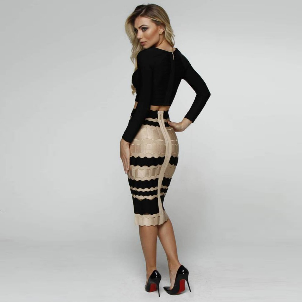 KLEEZY  Elegant Office Causal Sexy Mid-calf Striped Vintage Rayon Saias Woman Wedding Hollow Out Jacquard Bandage Skirt