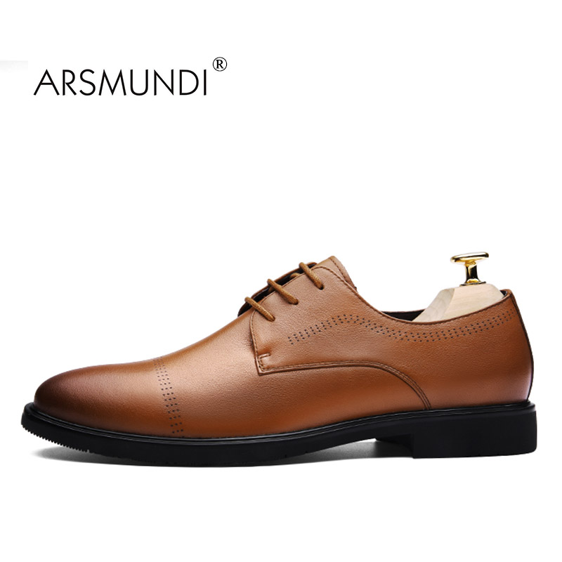 ARSMUNDI Original Men Dress Shoes Fall 2017 Man's Shoes Genuine Leather Breathable Waterproof Gift Mens Dress Shoes BLM-A1673 original li ning men professional basketball shoes