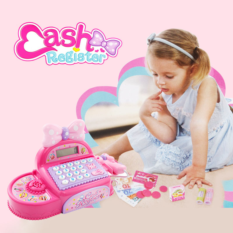 Children Real Life Electronic Cash Register Toy Girls Pink Princess Supermarket checkout Pretend Toy Birthday /Christmas Gift