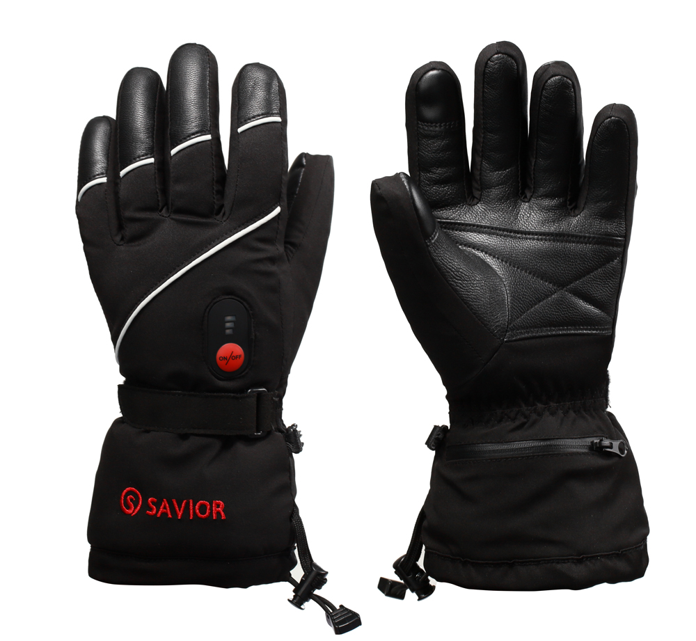 SAVIOR winter heated gloves skiing motorcycle fishing gloves electric heating gloves sheepskin leather fingers real heat unisex