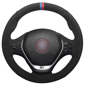 Hand sewing custom Black Suede Car Steering Wheel Cover for BMW F30 320i 328i 320d F20