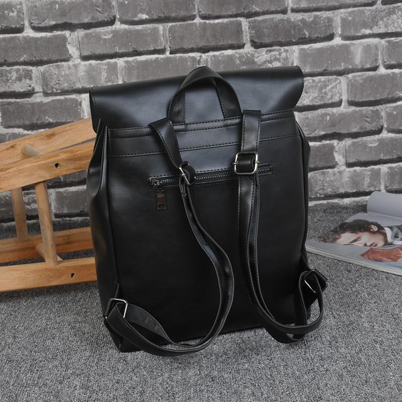 New Cool !! Black Leather Backpack Schoolbag Fashion Solid Leather Backpacks men Large capacity Travel Laptop Backpack mochila печатающая головка hp c9383a