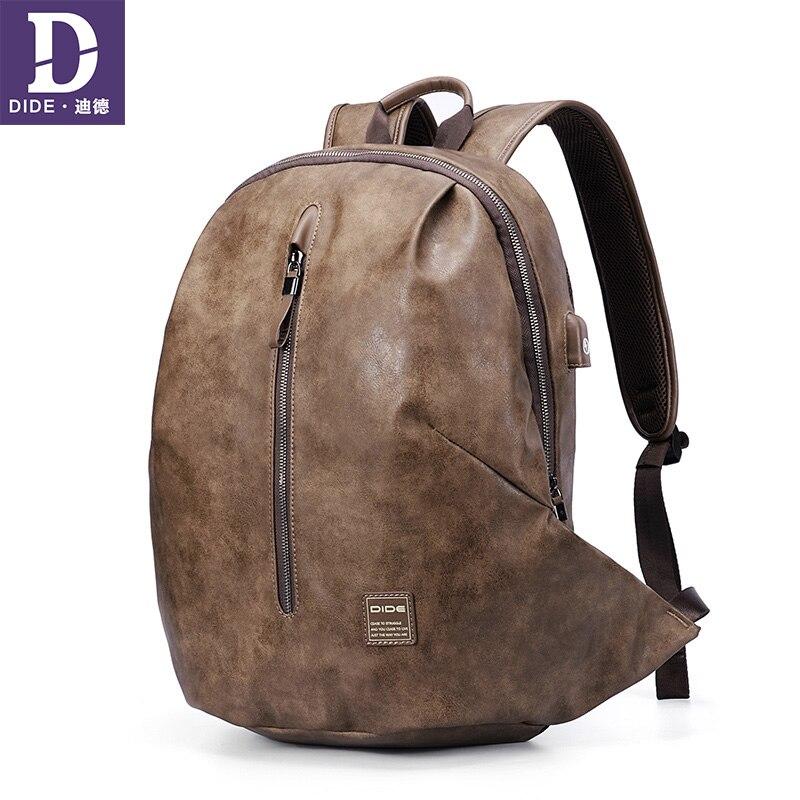 DIDE nouveau 15 pouces sac à dos en cuir USB charge sac à dos ordinateur portable Mochila sacs à bandoulière Preppy sac d'école hommes Anti-vol poche