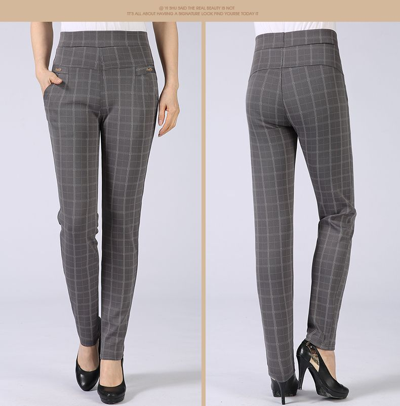 Spring Autumn Woman Casual Pant Navy Blue Black Khaki Gray Trousers Middle Aged Women Plaid Pattern Pants High Waist Trousers Mother Bottoms (9)