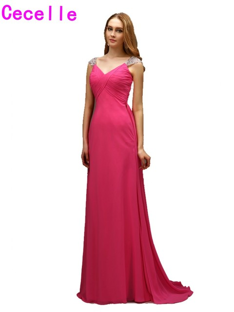 2017 Real New Sexy Long A Line Fuchsia Evening Dresses Gowns With