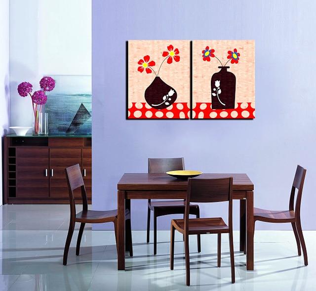 12 28 20 De Réduction 2 Pièces Abstrait Vase Et Rouge Fleur Peinture Impression Sur Toile Mur Photo Pour La Maison Cuisine Bureau Décoration Murale