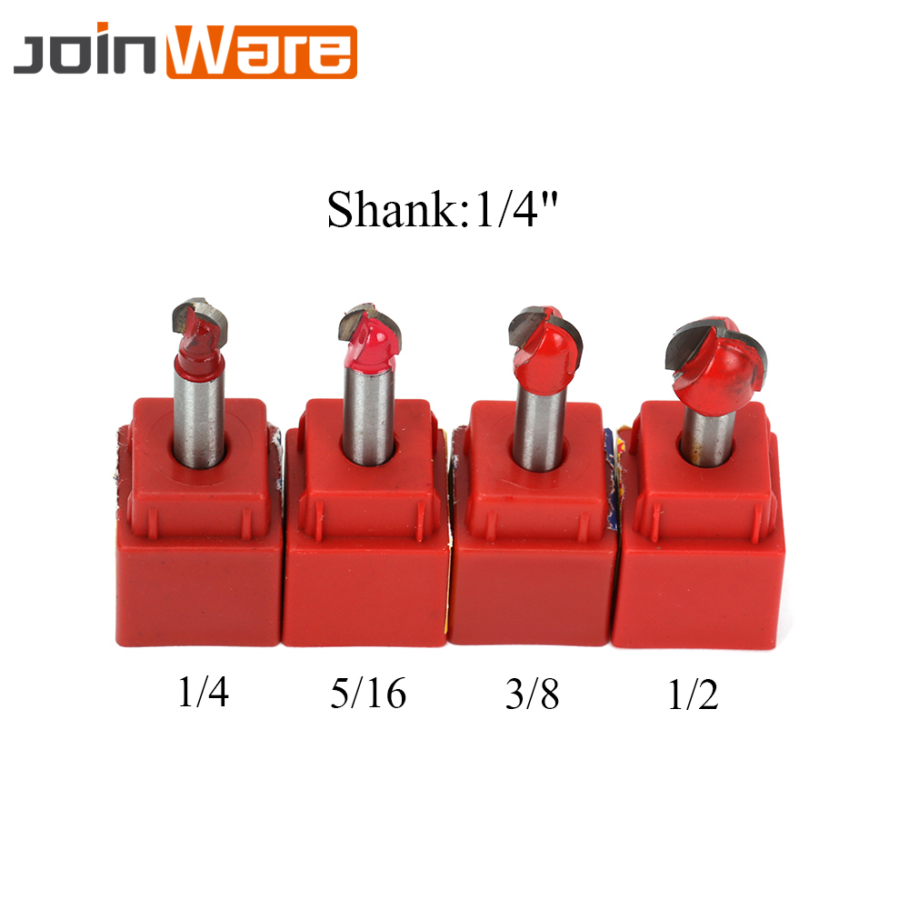 4PCS 1/4''  Multiple Specifications Router Bit Straight Mill Trimmer Round Cove Box Bits Tools Milling Cutter Woodworking New