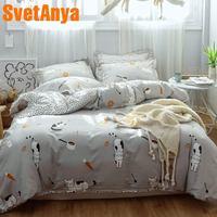 Svetanya 2019 Cotton Cat print bedding set Kids Children Bed Linen (flat sheet pillowcase Duvet cover)