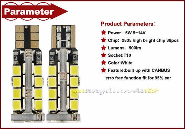 Tcart 2pcs Car LED Lights Clearance Light Auto Led Lamps High Bright White For Seat leon ibiza altea toledo T10 w5w 2835 38smd