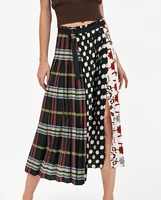FREE SHIPPING Miyake summer women's European and American new quilted print high waist loose long pleated skirt IN STOCK